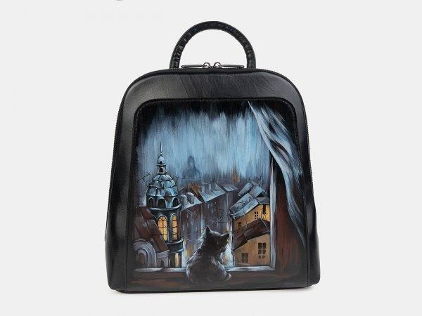 Уникальный черный рюкзак с росписью ATS-3401