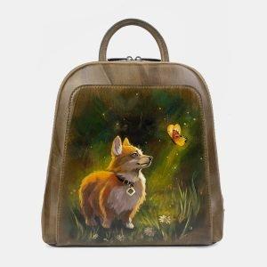 Модный желтовато-зелёный рюкзак с росписью ATS-3402