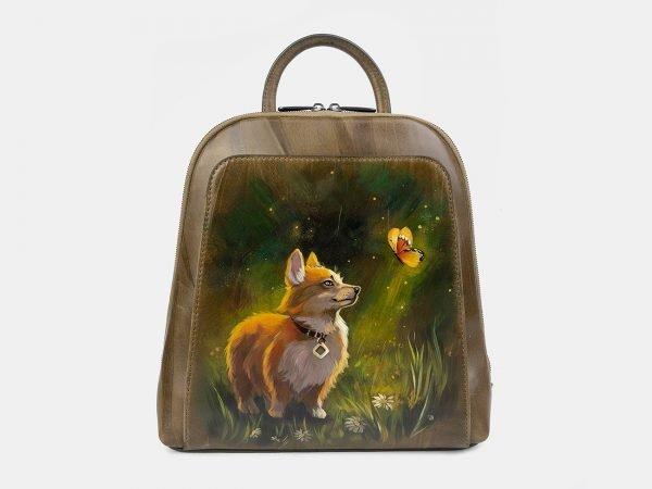 Функциональный желтовато-зелёный рюкзак с росписью ATS-3402