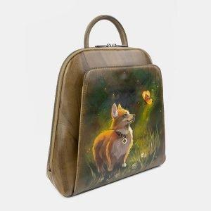 Функциональный желтовато-зелёный рюкзак с росписью ATS-3402 212587