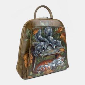 Солидный желтовато-зелёный рюкзак с росписью ATS-3403 212582