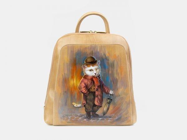 Уникальный бежевый рюкзак с росписью ATS-3404