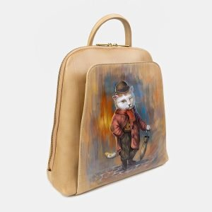 Уникальный бежевый рюкзак с росписью ATS-3404 212577