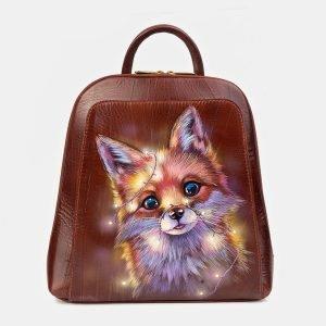Модный светло-коричневый рюкзак с росписью ATS-3405