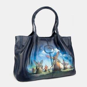 Функциональная синяя сумка с росписью ATS-3406 212567