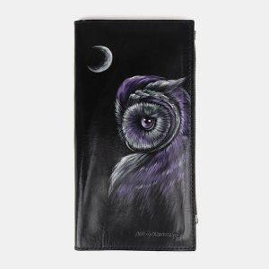 Деловой черный портмоне с росписью ATS-3660
