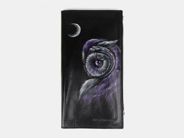 Уникальный черный портмоне с росписью ATS-3660