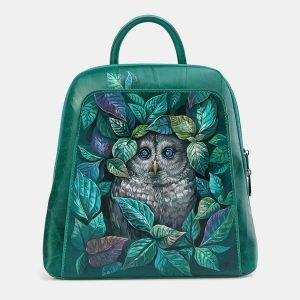 Модный зеленый рюкзак с росписью ATS-3696