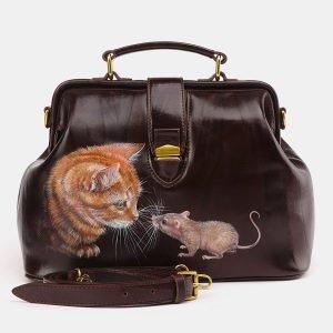 Солидная коричневая сумка с росписью ATS-3695