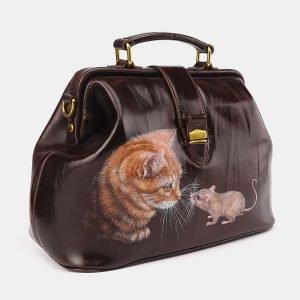 Кожаная коричневая сумка с росписью ATS-3695 211552