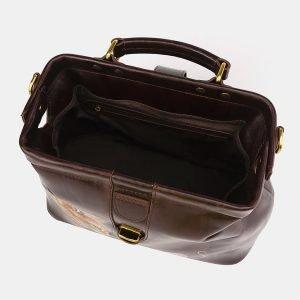 Кожаная коричневая сумка с росписью ATS-3695 211554