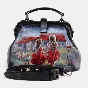 Вместительная черная сумка с росписью ATS-3693