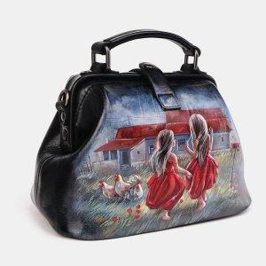 Вместительная черная сумка с росписью ATS-3693 211562
