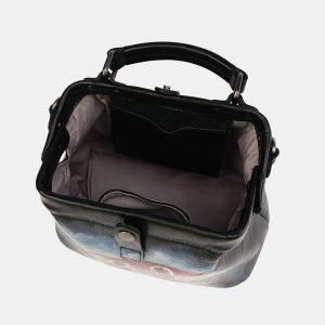 Вместительная черная сумка с росписью ATS-3693 211564