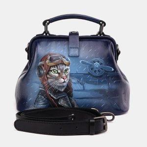 Модная синяя сумка с росписью ATS-3694