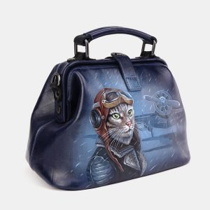 Модная синяя сумка с росписью ATS-3694 211557