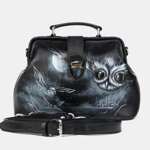 Кожаная черная сумка с росписью ATS-3218