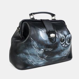 Кожаная черная сумка с росписью ATS-3218 213235