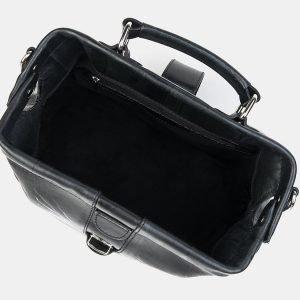 Кожаная черная сумка с росписью ATS-3218 213237