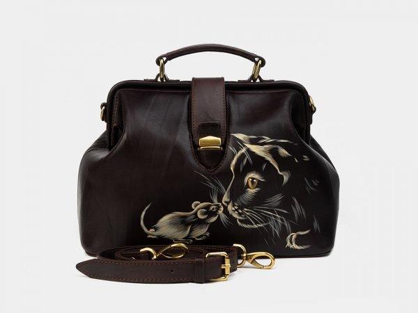 Солидная коричневая сумка с росписью ATS-1758