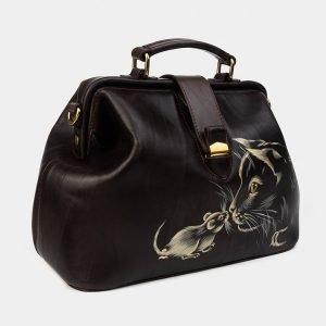 Солидная коричневая сумка с росписью ATS-1758 216383