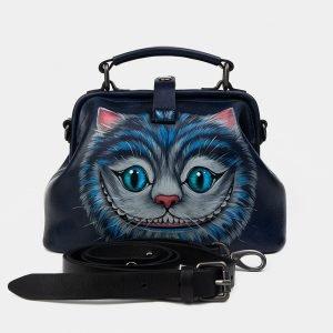 Кожаная синяя сумка с росписью ATS-1228