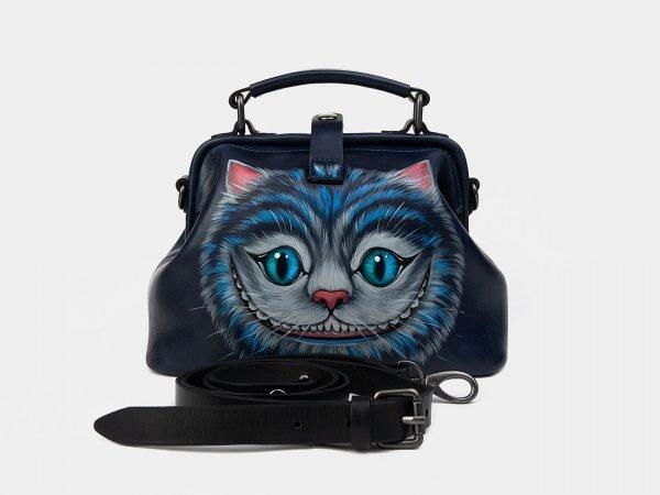 Вместительная синяя сумка с росписью ATS-1228