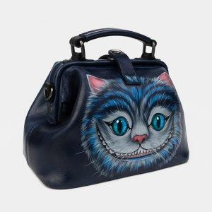Вместительная синяя сумка с росписью ATS-1228 216958