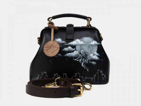 Неповторимая черная сумка с росписью ATS-2510