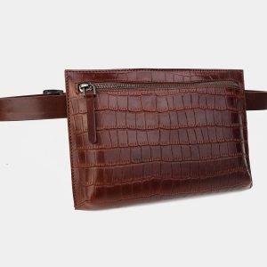 Солидная светло-коричневая женская сумка на пояс ATS-3265 213074