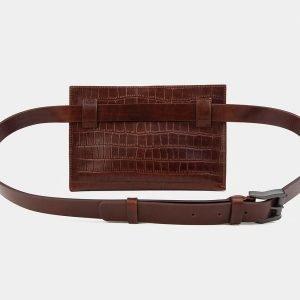 Солидная светло-коричневая женская сумка на пояс ATS-3265 213075