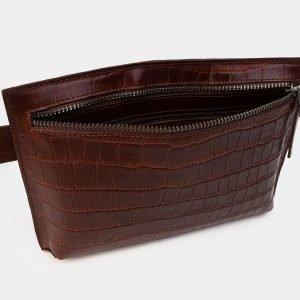 Солидная светло-коричневая женская сумка на пояс ATS-3265 213076