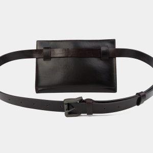 Солидная коричневая женская сумка на пояс ATS-3263