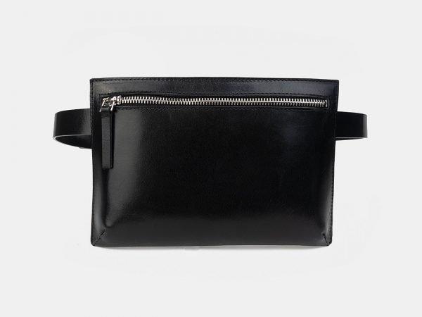 Вместительная черная женская сумка на пояс ATS-3262