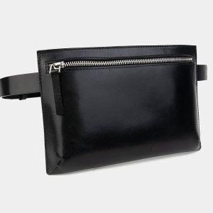 Вместительная черная женская сумка на пояс ATS-3262 213089