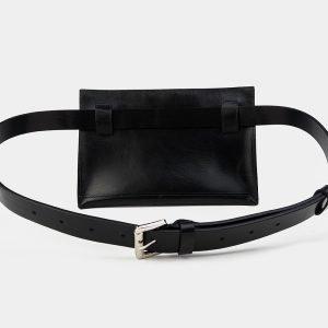 Вместительная черная женская сумка на пояс ATS-3262 213090