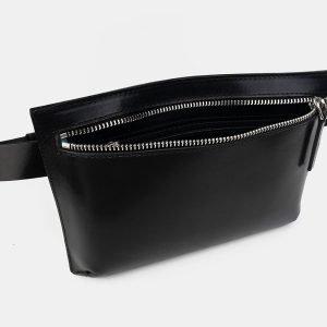Вместительная черная женская сумка на пояс ATS-3262 213091