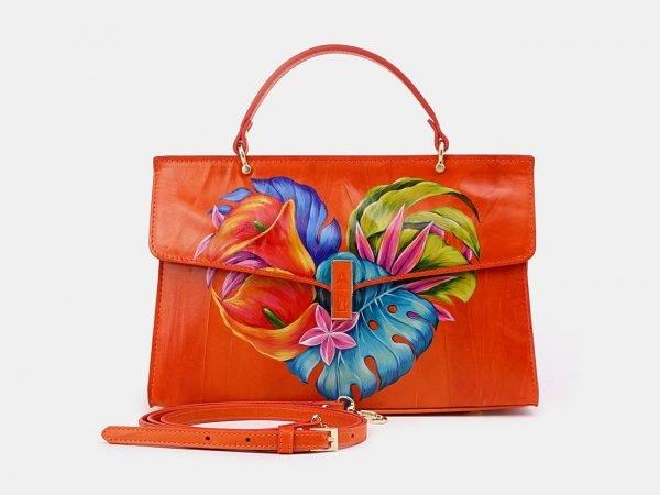 Солидная оранжевая сумка с росписью ATS-3679