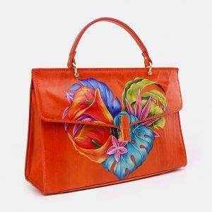 Солидная оранжевая сумка с росписью ATS-3679 211623