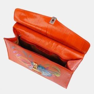 Солидная оранжевая сумка с росписью ATS-3679 211625