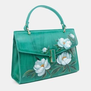 Деловой зеленый клатч с росписью ATS-3680 211618