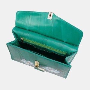 Деловой зеленый клатч с росписью ATS-3680 211620