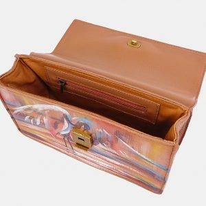 Уникальный бежевый клатч с росписью ATS-3677 211635