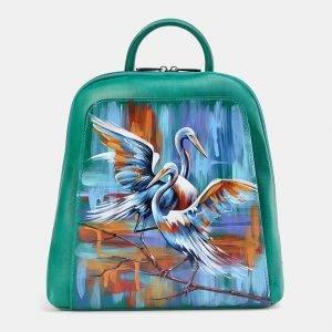 Стильный зеленый рюкзак с росписью ATS-3676