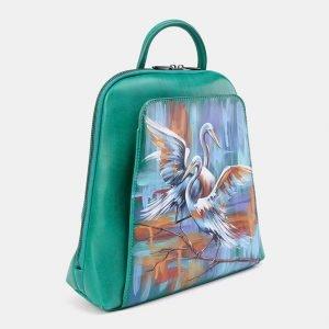 Стильный зеленый рюкзак с росписью ATS-3676 211638