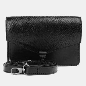 Кожаная черная женская сумка на пояс ATS-3690