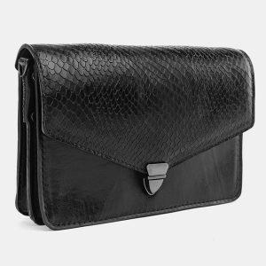 Кожаная черная женская сумка на пояс ATS-3690 211575