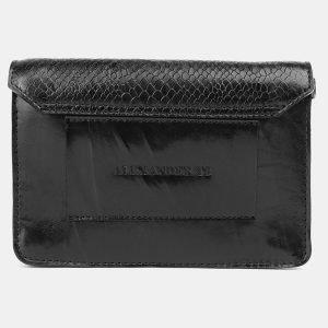 Кожаная черная женская сумка на пояс ATS-3690 211576