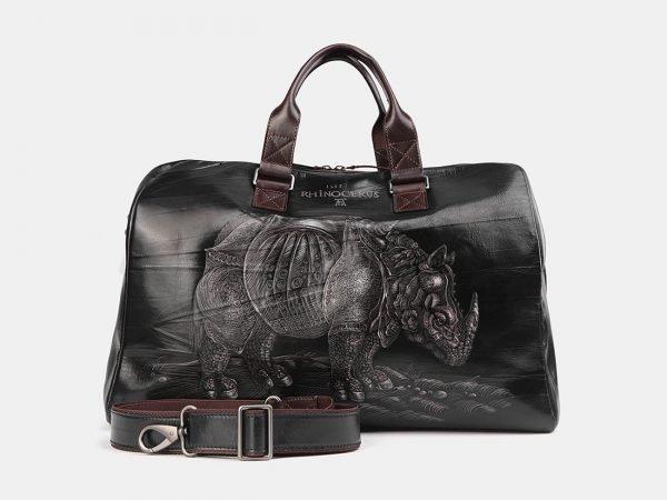 Деловая черная сумка с росписью ATS-3708