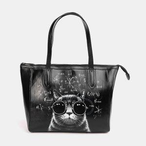 Кожаная черная сумка с росписью ATS-3712